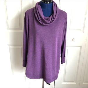 H by Halston Purple Cowl Neck Sweater